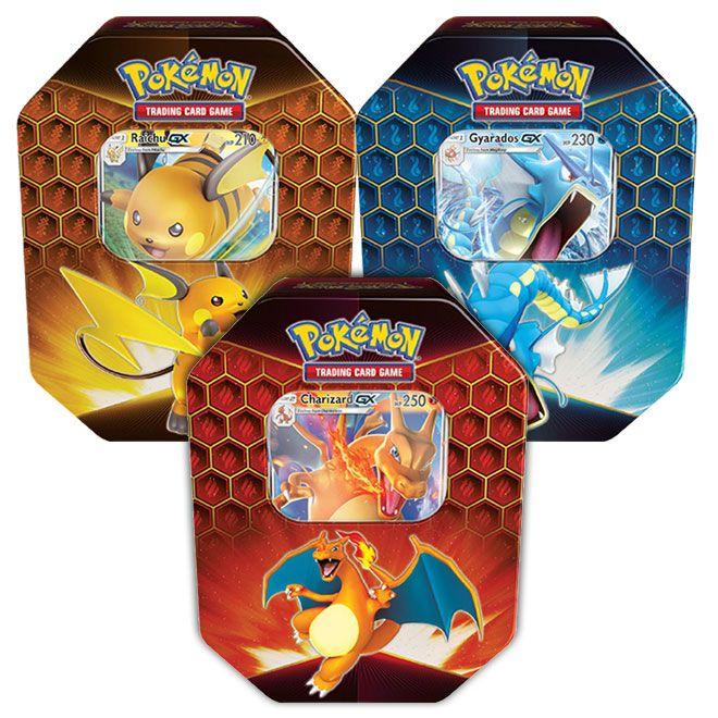 Pokemon - Hidden Fates - Charizard-GX, Gyarados-GX & Raichu-GX Tins
