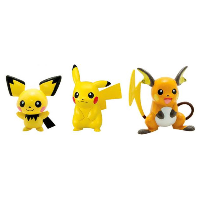 Pokemon - 3 Pack Evolution Figures - Pichu, Pikachu & Raichu