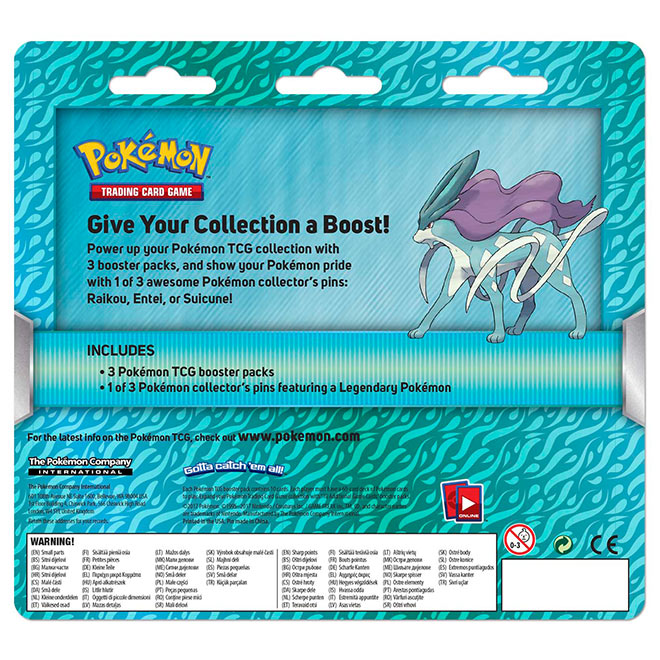 Pokemon Suicune - 3 Pack Pin Blister