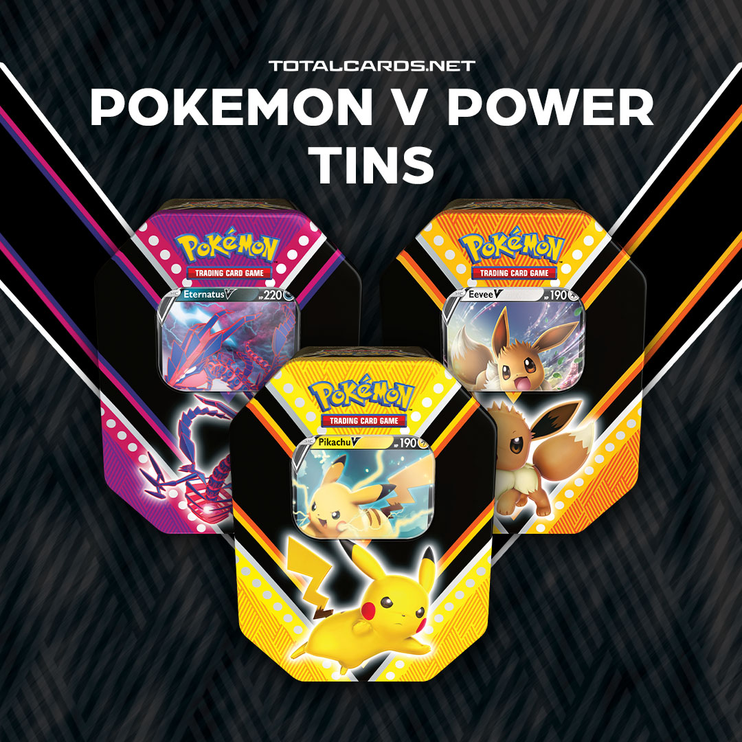 Trainers! Don't miss out on the Pokemon V Power Tins! Pikachu, Eevee & the Mythical Pokemon Eternatus have been known to hide in them!