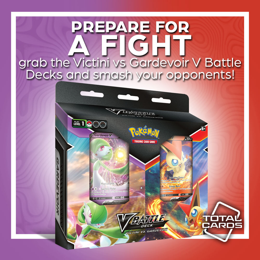 Victini V and Gardevoir V clash with these awesome V Battle Decks!